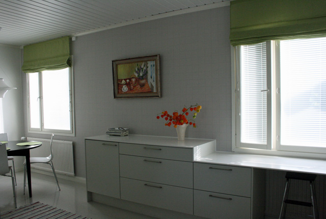 Keittiön  ikkunaseinä remontin jälkeen